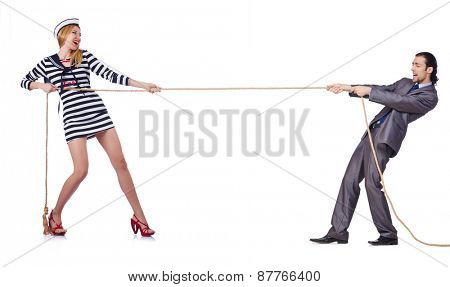 Woman sailor and man in costume isolated on white