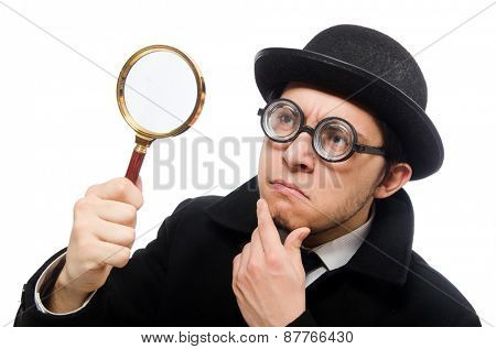 Detective with magnifying glass  isolated on white
