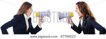 Businesswoman with loudspeaker on white