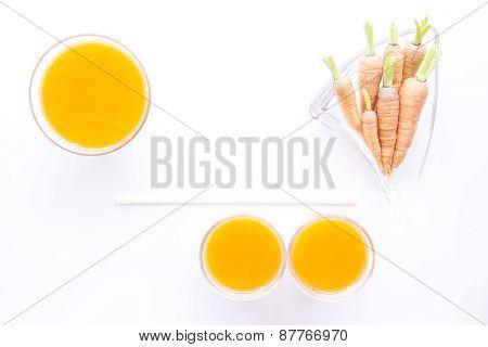 Fresh Baby Carrots And Juice Sized Arrange