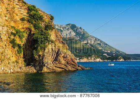 Landscape View On Mountains And Sea In Montenegro