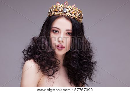 Fashion shot of a woman with diadem