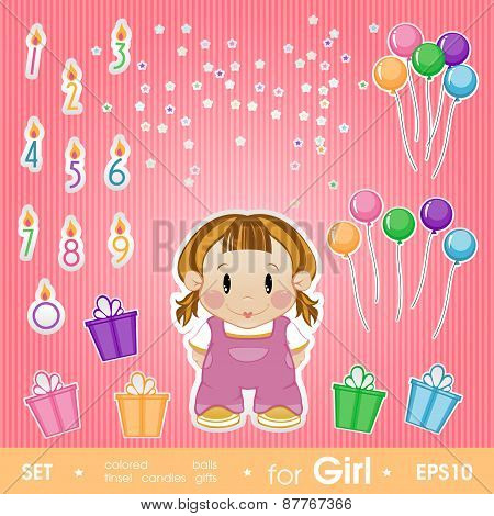 Festive Set For Girl. Set For Birthday, Candles, Gifts, Tinsel,