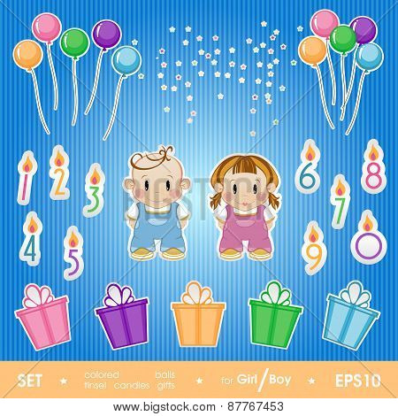 Gala Set For Birthday Party For Girl And Boy. A Set Of Balloons