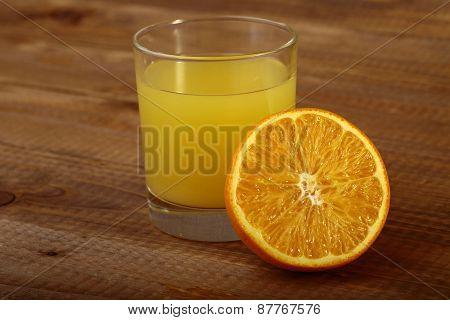 Orange Fruit And Glass Of Juice