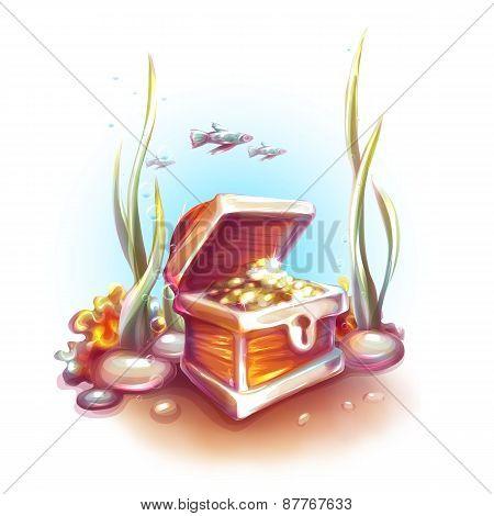 Vector illustration of treasure chest in ocean
