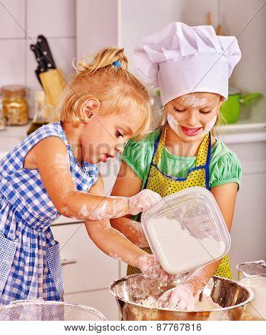 Alone children  breakfast at home kitchen