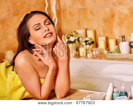 Woman relaxing at home luxury bath. Girl close eyes
