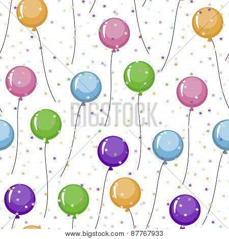 Seamless pattern of colored balloons and colorful stars, tinsel.