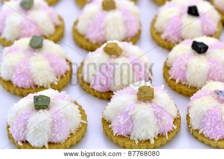 White And Pink Coconut Cookies