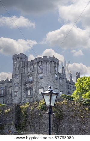 Old Antique Street Lamp And Castle View