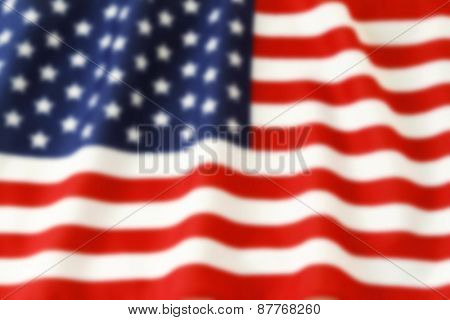 Out of focus American flag