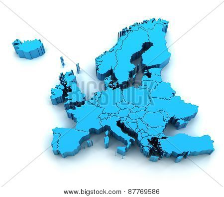 Detail Europe map with national borders