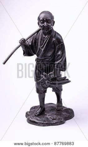 Chinese Metal Old Man Peasant Statue