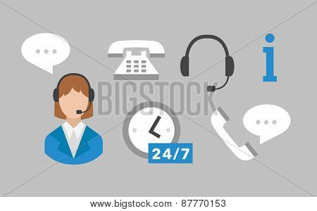 Call center icons vector set
