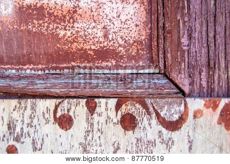 chipped paint on the door of the old boards texture background