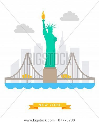 New-York flat background vector