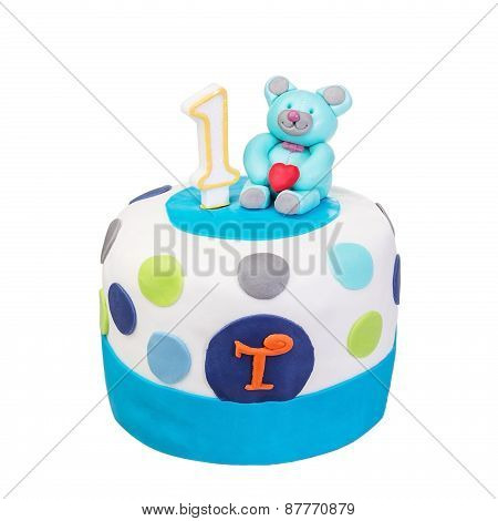 Decorative Birthday Cake Baby. On A White Background.