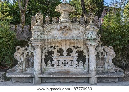 Excellent Architectural Bench In Antique Rococo Style. Quinta Regaleira Sintra Portugal.