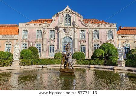 Facade Of The Castle Queluz Of The King. Sintra Portugal.