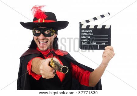 Young man in carnival coat with gun and clapper isolated on white