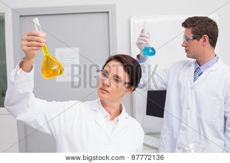 Scientists looking attentively at beakers in laboratory