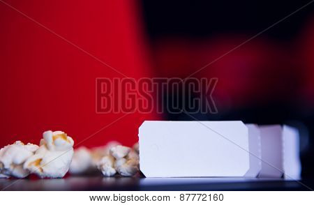 Pop corn and cinema tickets at the cinema