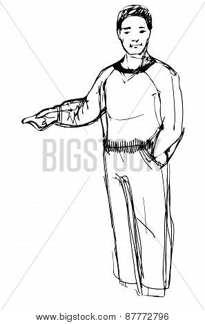 Sketch Of Man Points His Index Finger