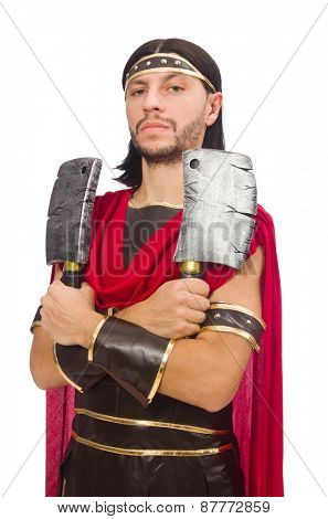 Gladiator with cleaver isolated on white