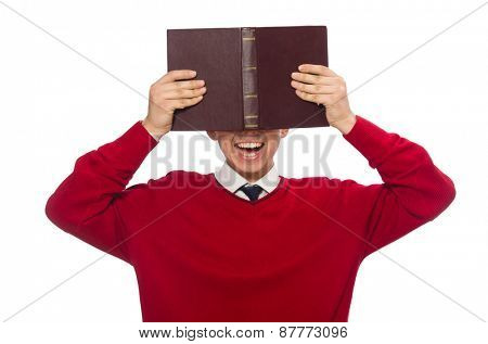 University student with book isolated on white
