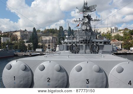 SEVASTOPOL, CRIMEA, UKRAINE - AUGUST 17, 2012: Anti-submarine missile system on the Russian frigate
