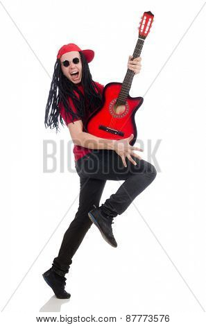Positive boy with guitar isolated on white