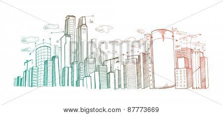 City plan hand drawn on white background