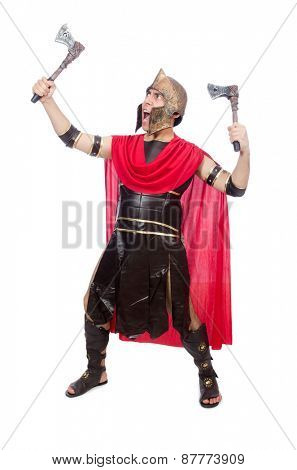 Gladiator with ax isolated on white