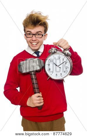 University student with alarm clock isolated on white