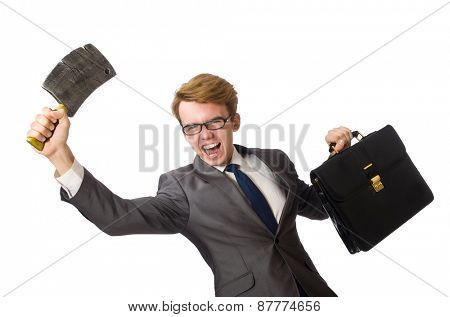 Young businessman with weapon isolated on white