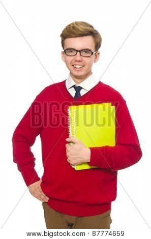 Student with paper isolated on white