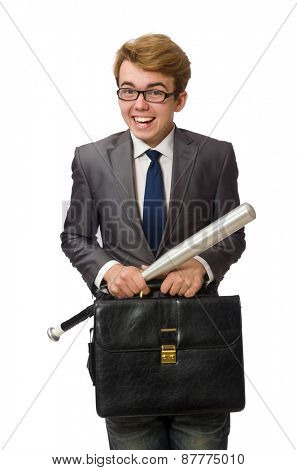 Young businessman with baseball bat isolated on white