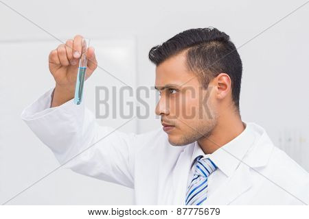 Focus scientist looking at blue precipitate in the laboratory