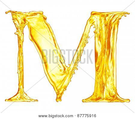 One letter of orange juice splash alphabet