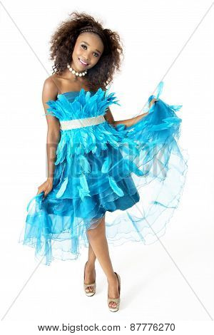 African Female Model Wearing Turquoise Feathered Dress, Full Length