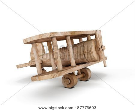 Wooden Plane On A White