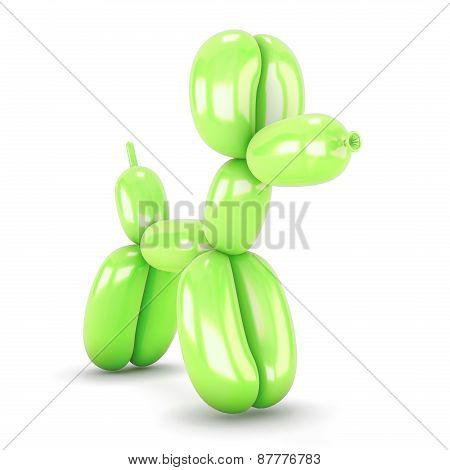 Green Dog Toy From A Balloon