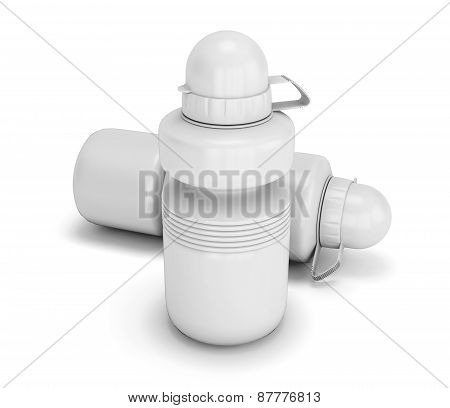 Two White Collapsible Sport Water Bottle Close-up