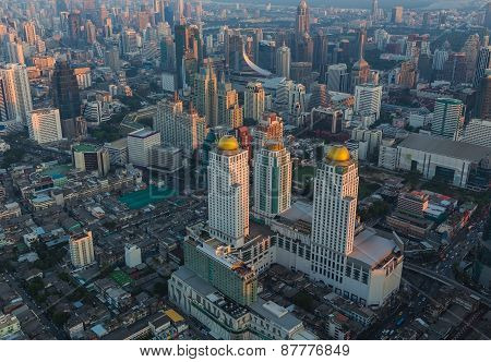 Aerial view of Bangkok, Thailand at sunset.