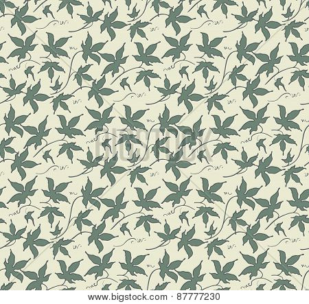 Vintage Floral Seamless Pattern. Classic Hand Drawn Ivy Leaves