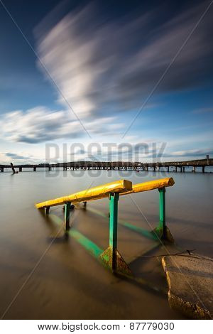 Long Exposure Lake With Boat Launch Trolley.