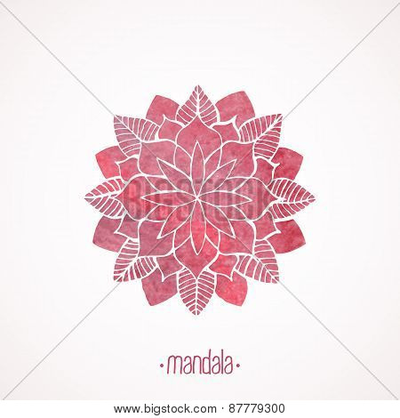 Watercolor Pink Lace Pattern. Vector Element. Mandala