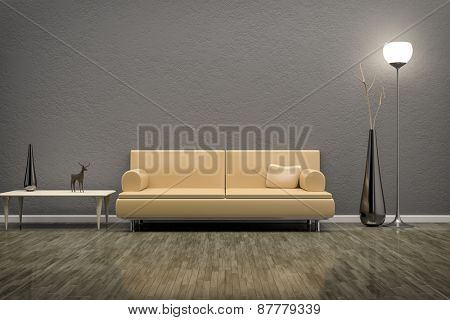 3D rendering of a grey room with a sofa
