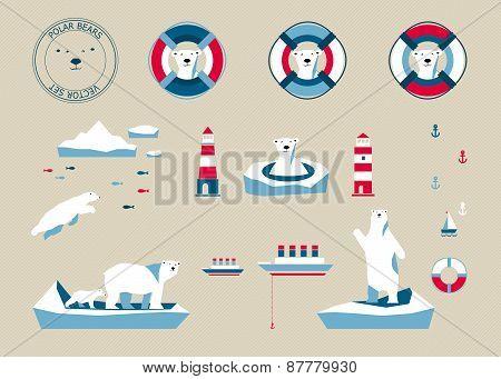 Bears Set On Beige Background